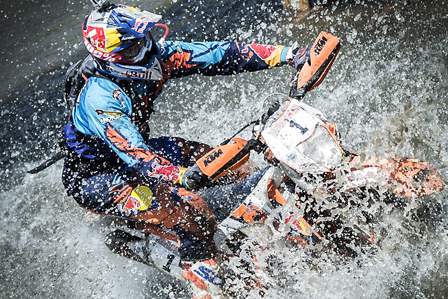 Red Bull KTM's Jonny Walker survived a late-race mishap in a mudhole on Day 4 to claim his second consecutive Red Bull Romaniacs title. PHOTO COURTESY OF RED BULL CONTENT POOL.