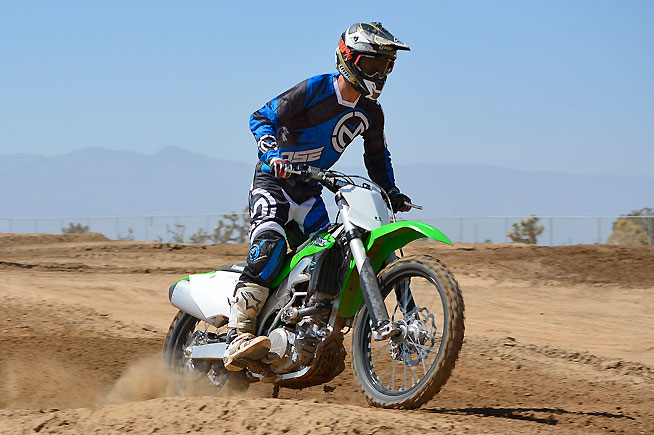 Kawasaki revised the damping rates in the KX450F's Showa SSF-TAC fork and fitted the rear suspension with a revised linkage ratio and a softer shock spring. The suspension is a little too plush for hard-riding pro types, but that can be easily cured with a little fine-tuning.