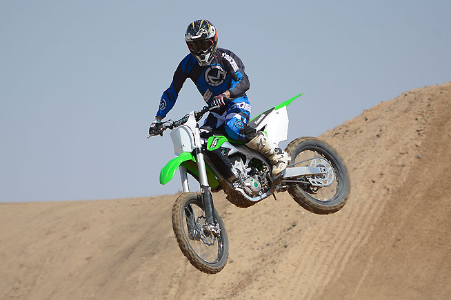 Test rider Ryan Abbatoye was comfortable aboard the KX450F right from the start, praising its smooth low-end and forceful mid-range wallop. The KX chassis feels light and compact in the air as well as on the ground.