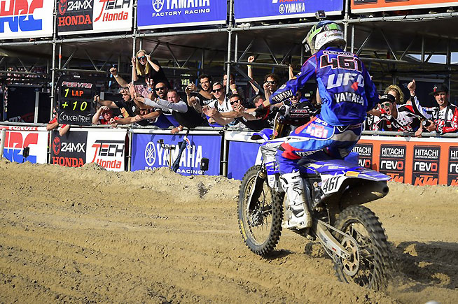 As is team cheers him on, Romain Febvre races toward the second-moto win at the GP of the Netherlands in Assen, Holland, Sunday. Febvre won the moto and earned enough points to clinch his first career MXGP World Championshp with two rounds to spare. PHOTO BY YAMAHA MOTOR EUROPE.