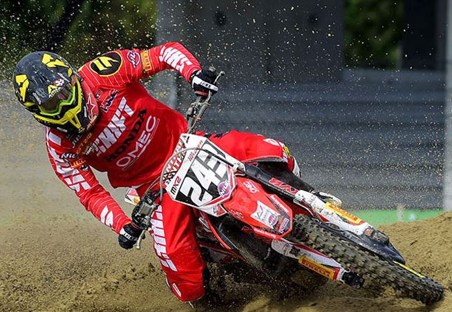 Gariboldi Honda's Tim Gasjer took over the MX2 series points lead with an overall win at Assen. PHOTO SOURCE: MXGP.COM.
