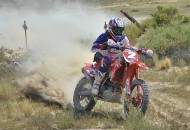 Purvines Racing Beta rider Nick Burson left everyone else in his dust as he sailed to his first win of the season at the Mulley Run National Hare & Hound in Panaca, Nevada, Sunday.