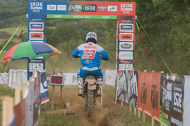Top American Kailub Russell suffered mutliple crashes during Day 3 of the 90th ISDE in Slovakia, suffering a damaged bike and a serious knee injury. Russell has been forced to pull out of the event, and he is expected to fly home and undergo surgery to repair the knee.