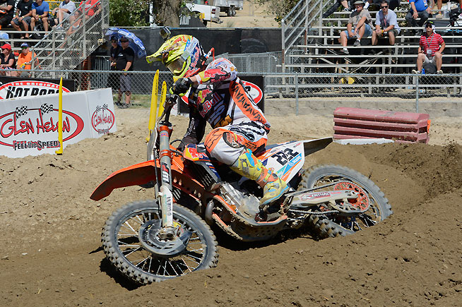 Despite just recovering from an arm injury, exiting MXGP World Champion Antonio Cairoli put together a solid day at Glen Helen, battling for the lead early in both motos. PHOTO BY SCOTT ROUSSEAU