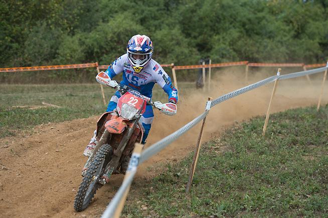 Thanks to an action by the French Motorcycling Federation, Taylor Robert (shown) and eight others have been temporarily reinstated in the 2015 ISDE in Kosice, Slovakia. That puts Robert, who finished sixth during Day 5 today, back up to fourth place in the E2 class, pending further litigation in the matter.