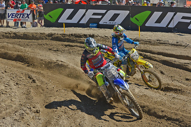 Valentin Guillod (92) was the top MX2 series regular, finishing 5-3 for third overall. PHOTO BY SCOTT ROUSSEAU
