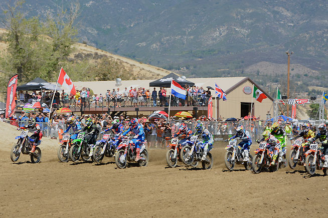MXGP Moto 1 got underway with Antonio Cairoli (222) and Webb (175) battling for the early lead. PHOTO BY SCOTT ROUSSEAU