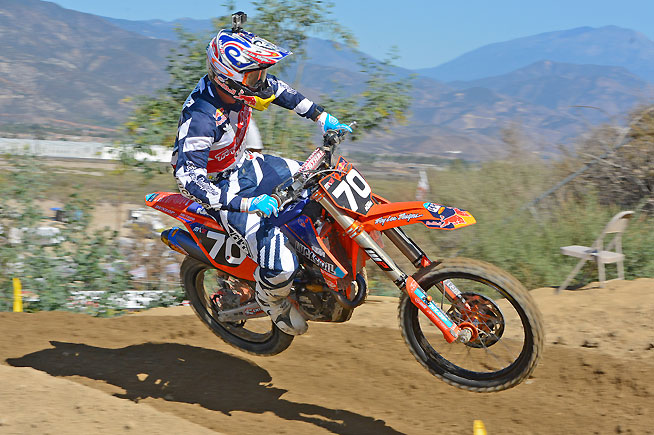 Shane McElrath joined Troy Lee Designs KTM teammate Nelson on the podium by going 3-2 for second overall in MX2. PHOTO BY SCOTT ROUSSEAU