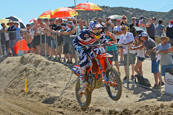 Jessy Nelson blew the doors of off everyone in the MX2 class at Glen Helen, giving American fans a 1-1 sweep of the class for the overall win in his FIM Grand Prix debut. PHOTO BY SCOTT ROUSSEAU