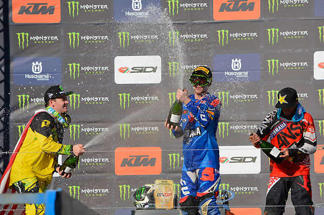 (Left to right) Grant and Febvre celebrate on the podium, while Webb is a little slow on the draw with the champagne. PHOTO BY SCOTT ROUSSEAU