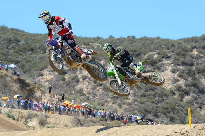 Cooper Webb (175) made both his MXGP debut and his 450cc debut at Glen Helen, and he was nothing short of impressive, finishing 2-3 for third overall behind fellow American Josh Grant (35), who went 3-1. PHOTO BY SCOTT ROUSSEAU