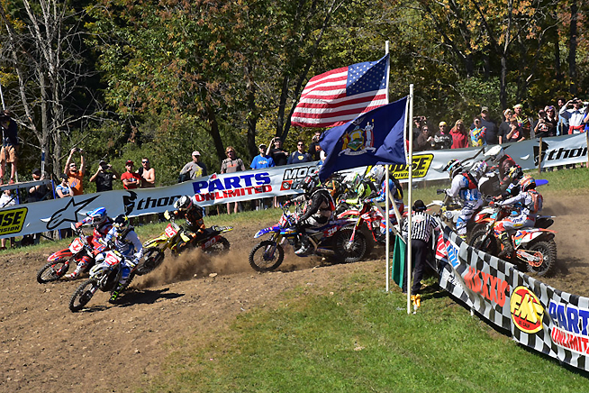 Josh Strang (2) grabbed the early lead and held off Thad Duvall and Ryan Sipes to win the Unadilla GNCC. The Husqvarna brand swept the top three positions in the race. PHOTO BY KEN HILL.