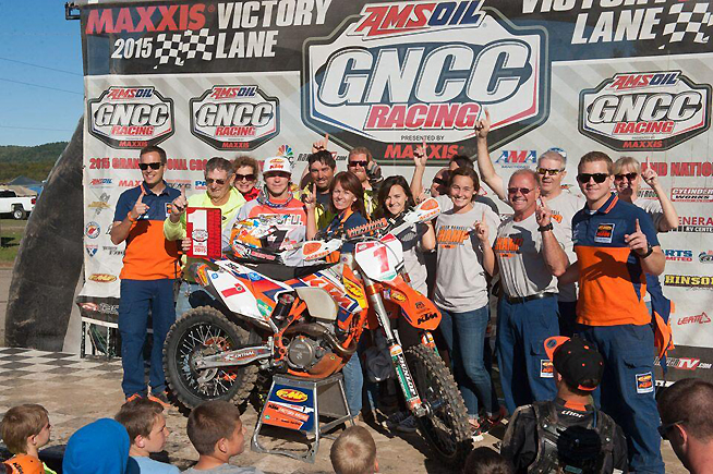 Despite riding with a torn ACL that he suffered at the ISDE, Kailub Russell carded a fourth-place finish to clinch his third consecutive AMSOIL GNCC title. PHOTO BY KEN HILL.