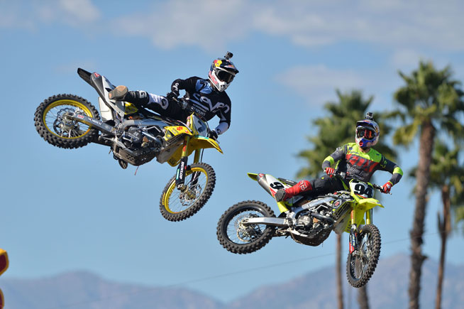 After needing three races to get past Ryan Dungey in teh semifinals, Stewart (left) faced Ken Roczen (right) in the all-important final. The two had a great first race, with Stewart winning. Stewart then sealed the deal when Roczen crossed the centerline in race two.