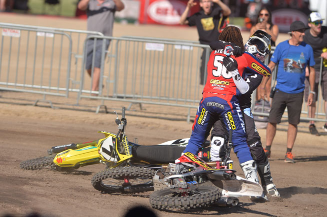 The jubilant Stewart brothers embraced in celebration after James' win in the Open Class final.