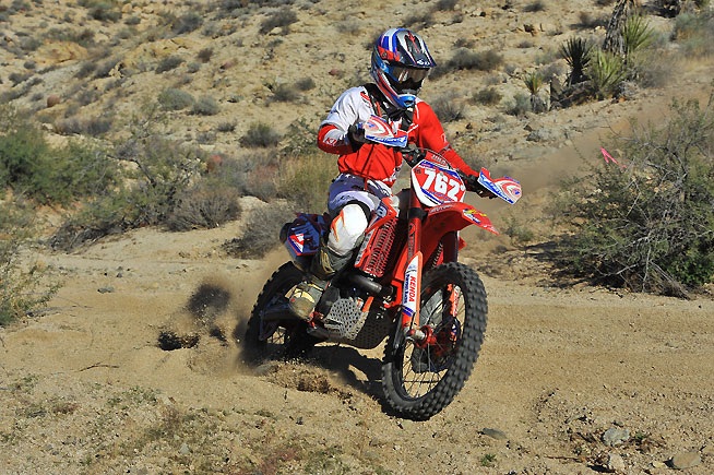 After a decent start, Axel Pearson worked his way into the lead and hung on to win his first major race a the Laughlin Hare Scramble Challenge near Laughlin, Nevada, Saturday.PHOTO BY MARK KARIYA