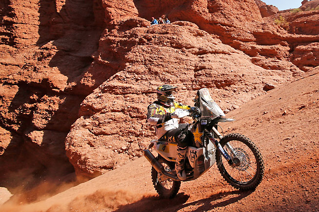 Pablo Quintanilla finished third in Stage 8 today and remains in podium contention. The Chilean is the only factory Husqvarna rider left in the Dakar Rally. PHOTO COURTESY OF HUSQVARNA.