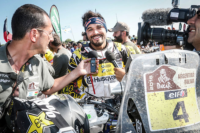 Pablo Quintanilla gave the factory Husqvarna team its first Dakar podium in its first attempt. The Chilean won the final stage of 2016 and finished third overall. PHOTO BY BARNI C./HUSQVARNA IMAGES.
