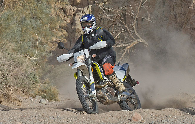 The 701 Enduro's competent chassis and WP suspension allow you to get fairly aggressive. It's pretty easy to forget you are on an approximately  339-lb. motorcycle (with a full fuel load). The chassis does nothing awkward to remind you, either.