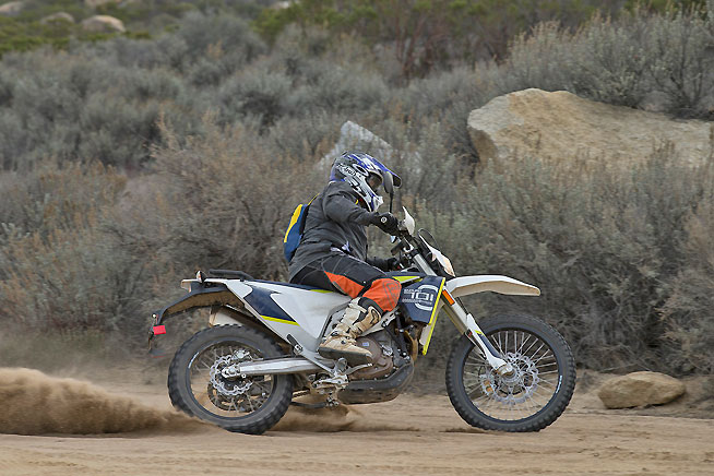 The 701 Enduro churns out lively old-school power with plenty of flywheel effect, which makes it easy to ride.