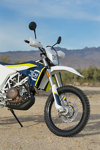 The 701 Enduro gets the same WP 4CS shock found on Husqvarna's FC 450 motocross machine, although this one is tuned for dual-sport use.