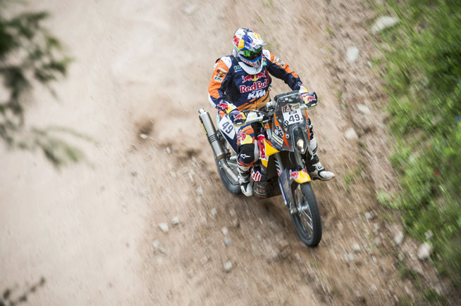 Five-time FIM World Enduro Champion and Dakar Rally rookie Antoine Meo came home fourth in Stage 3 today at the Dakar Rally. PHOTO COURTESY OF RED BULL CONTENT POOL.