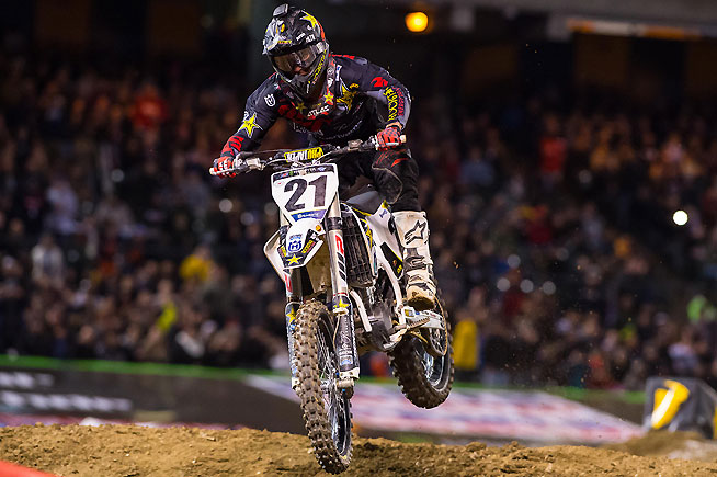 Jason Anderson came from as far back as 11th place to finish fourth. If Dungey and Anderson ever get a 1-2 start the battle would be interesting. PHOTO COURTESY OF HUSQVARNA IMAGES.