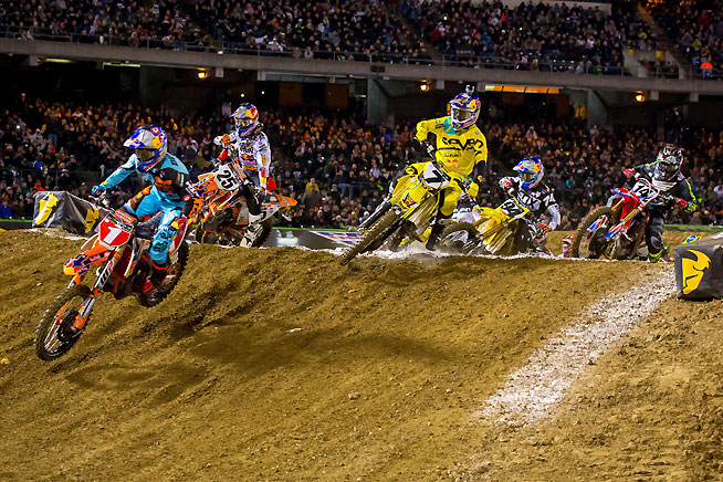 Ryan Dungey (1) pulled the holeshot and ran away with the Oakland Supercross win, claiming his 25th career 450cc Supercross victory and his third win in four rounds. PHOTO BY RICH SHEPHERD.