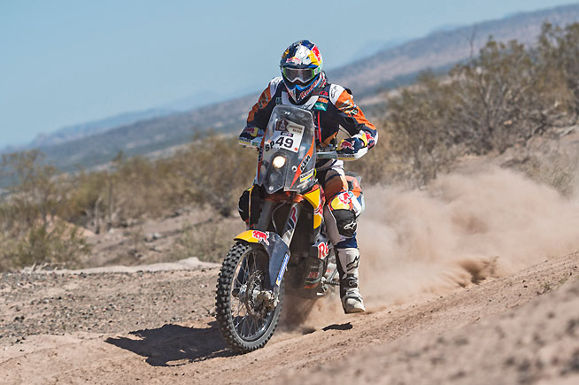 Rookie Antoine Meo of France scored his second win of the 2016 Dakar Rally in a shortened Stage 11 in Argentina today. Meo also moved to third overall. KTMs now occupy the top three spots in the event. PHOTO COURTESY OF RED BULL CONTENT POOL.