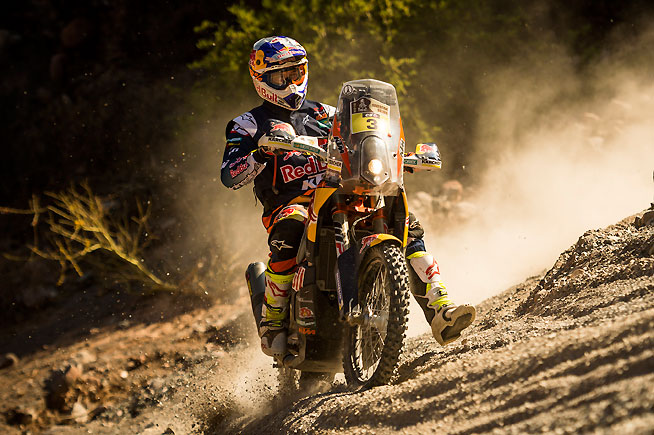 Toby Price had an excellent day in Stage 8 of the Dakar Rally, winning the stage and retaking the overall rally lead from Team HRC's Paulo Goncalves heading into tomorrow's second marathon stage. PHOTO COURTESY OF RED BULL CONTENT POOL.