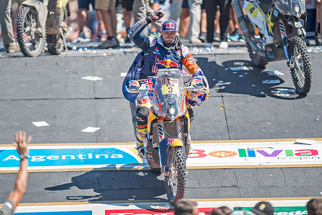 Red Bull KTM's Toby Price crosses over the rally podium into history as the first Australian ever to win a Dakar Rally category. Price finished a conservative fourth place in the final stage to secure the overall win by nearly 40 minutes. PHOTO COURTESY OF RED BULL CONTENT POOL.