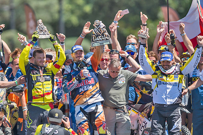 New Dakar Rally Champion Price (center) flanked by runner-up Svitko (left) and third-place finisher Quintanilla (right). PHOTO COURTESY OF RED BULL CONTENT POOL.