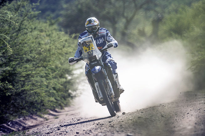 Yamaha Factory Racing rider Helder Rodrigues broke through to give Yamaha its first stage win of the 2016 Dakar Rally today. Rodrigues won Stage 12 and moved into fifth overall with one stage remaining. PHOTO COURTESY OF RED BULL CONTENT POOL.