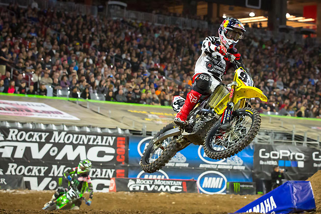 RCH Soaring Eagle/Jimmy John's Suzuki's Ken Roczen (94) dominated the 2016 Phoenix Supercross main event, leading all 20 laps of the main to record his fifth career 450cc supercross victory.  PHOTO BY RICH SHEPHERD.