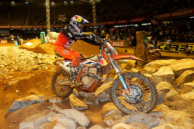 FMF KTM's Cody Webb overcame his fair share of mistakes to grab his third Maxxis FIM SuperEnduro World Championship win in four rounds, in Belo Horizonte, Brazil, Saturday night. PHOTO BY FUTURE7MEDIA.