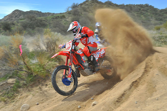 Nick Burson scored a repeat win at the Prospector's M.C. Hungry Valley Hare Scramble in Gorman, California, on March 21. The Purvines Racing Beta rider also took over the AMA West Hare Scrambles Series points lead. PHOTO BY MARK KARIYA.
