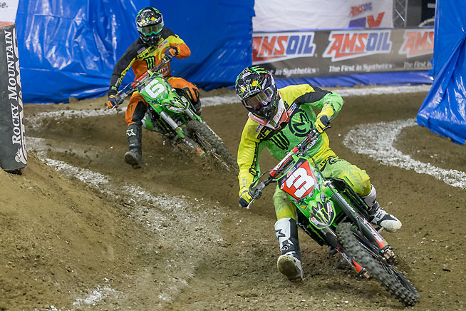 Chris Blose (6) battle with his Team Babbitt's/Monster Energy/AMSOIL Kawasaki teammate Gavin Faith (3) during both nights of AMSOIL Arenacross action in Ontario, California, April 1-2. Blose score both overall wins and emerged with the Road to the Championship points lead.