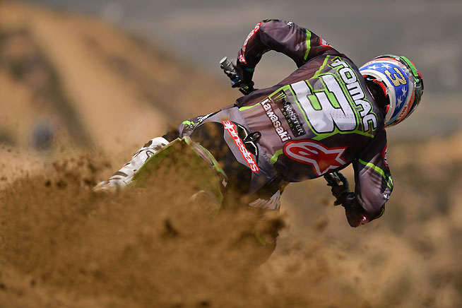 Eli Tomac had a consistent day, going 3-3 for third overall at the 2016 FMF Glen Helen National. PHOTO BY STEVE COX.