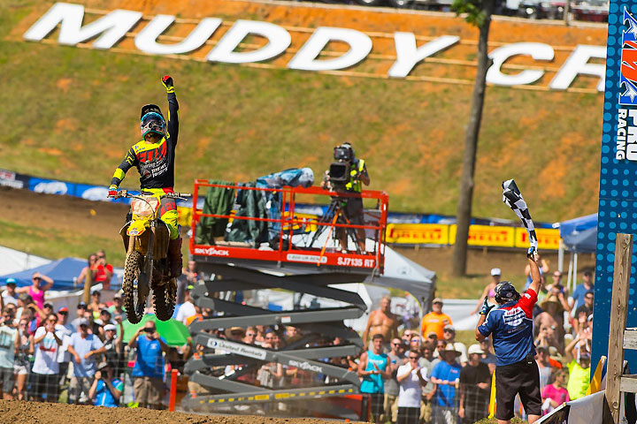 Ken Roczen earned his 10th career Lucas Oil 450cc Pro Motocross Championship win on a hot day at Muddy Creek Raceway in Blountville, Tennessee, June 25. Roczen has only lost one of 10 motos thus far in the season. PHOTO BY RICH SHEPHERD.
