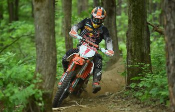 Kailub Russell was a threat to claim his sixth consecutive AMSOIL GNCC win, but he crashed with Strang on the last lap, and his motorcycle was too damaged to continue. The DNF knocked Russell out of the series points lead. PHOTO BY KEN HILL.