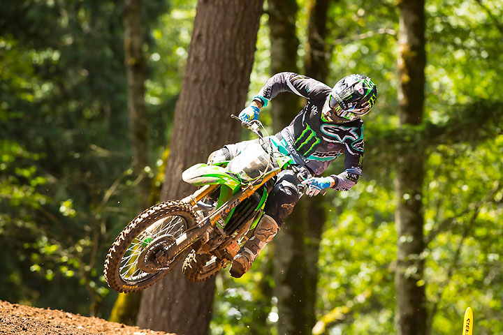Eli Tomac landed his second overall win in the last three rounds at the Washougal National MX in Washington. Tomac posted 2-1 moto scores to claim the 450cc win. PHOTO BY RICH SHEPHERD.