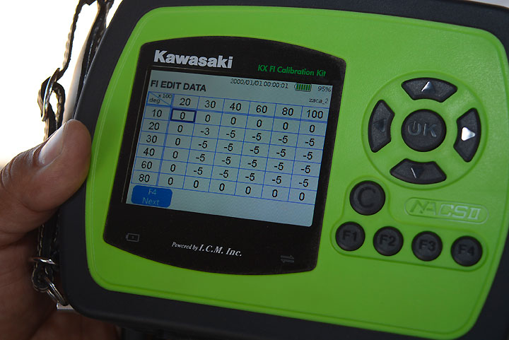 This photo shows Kawasaki's accessory FI calibration unit. The numbers on the screen were input into our custom DFI coupler.