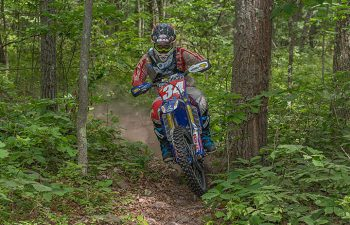 Grant Baylor won three special tests and collected his third Kenda AMA National Enduro victory in six rounds of racing by winning the Rattlesnake National Enduro in Cross Fork, Pennsylvania. PHOTO BY SHAN MOORE.