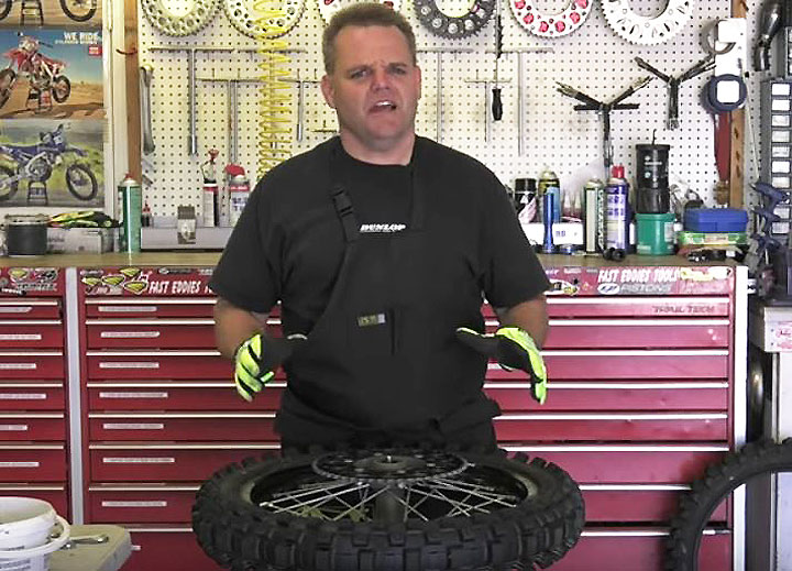 Jay Clark has his dirtbike tire changing technique down to a science. Watch his how-to video, and you can too.