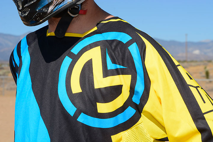 Moose uses sublimated graphics on its polyester M1 riding gear for fade-resistance and breathability.