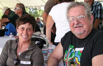 Rick Sieman with female motocross racing legend Sue Fish. Are they too old to ride motocross.