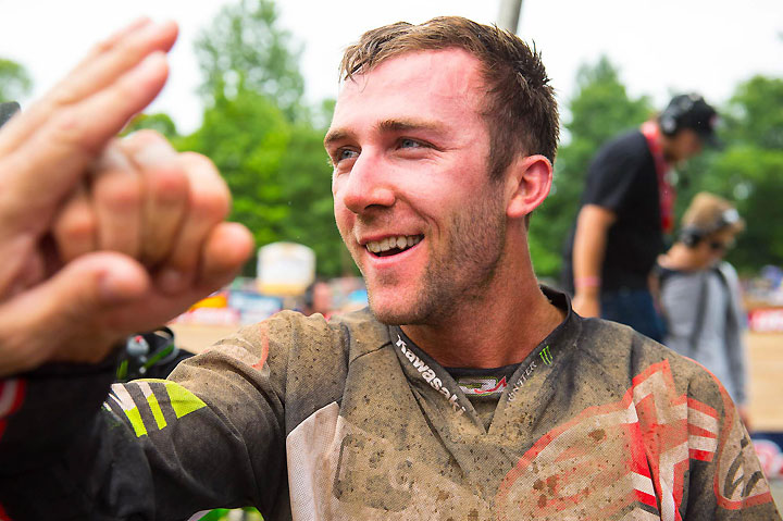 Tomac was all smiles after his victorious day before the largest crowd in Southwick National history. PHOTO BY RICH SHEPHERD.