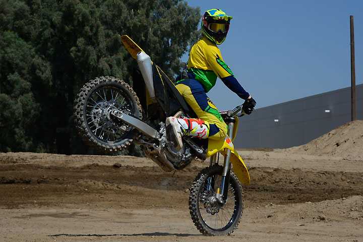 """While horsing around at Milestone MX Park a few days before LACR, Garvin quickly came to love the RM-Z's """"stop-on-a-dime"""" brakes. They may be the best-feeling binders in the class."""