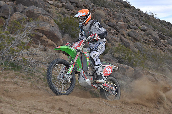 The prelude to Argubright's Husqvarna factory ride came courtesy of Kawasaki, which supported him in 2012. PHOTO BY MARK KARIYA.