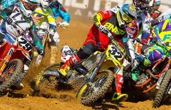 Yoshimura Suzuki's Matt Bisceglia pulled a holeshot in the second 450cc moto at the GEICO Motorcycle Budds Creek National last weekend. Still coming back from injuries sustained at Southwick, Bisecglia finished the day 11th overall. PHOTO BY RICH SHEPHERD.